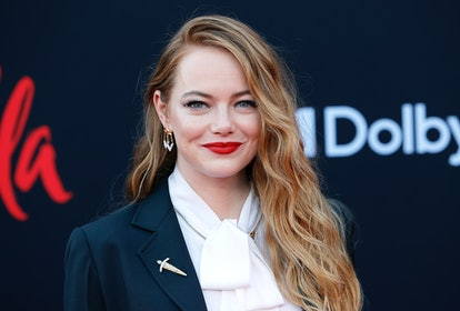"""LOS ANGELES, CALIFORNIA - MAY 18: Emma Stone attends the Los Angeles premiere of Disney's """"Cruella"""" at El Capitan Theatre on May 18, 2021 in Los Angeles, California. (Photo by Frazer Harrison/Getty Images)"""