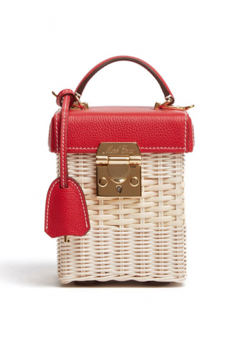 Mark Cross rattan and leather box bag, $2,390, available at Markcross.com.