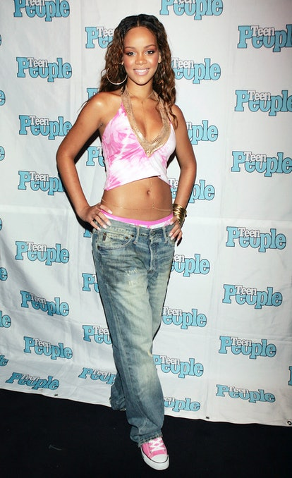 WEST HOLLYWOOD, CA - JULY 14:  Roc-A-Fella recording artist Rihanna is featured at the Teen People Listening Lounge hosted by Jay - Z at the Key Club on July 14, 2005 in West Hollywood, California. (Photo by Kevin Winter/Getty Images)