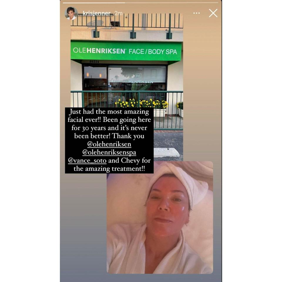 """Kris Jenner Enjoyed the """"Most Amazing Facial Ever"""" at This Los Angeles Spa — Shop Celeb-Loved Products From the Line"""