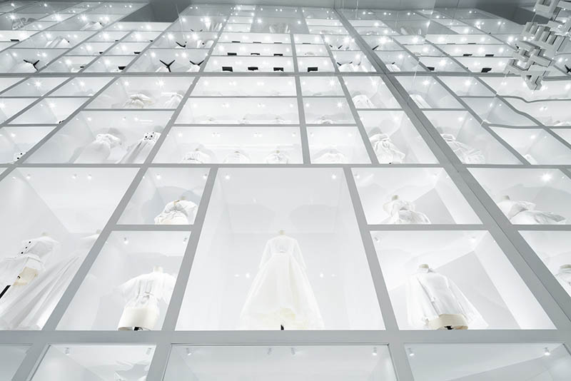 Christian Dior wall of dresses