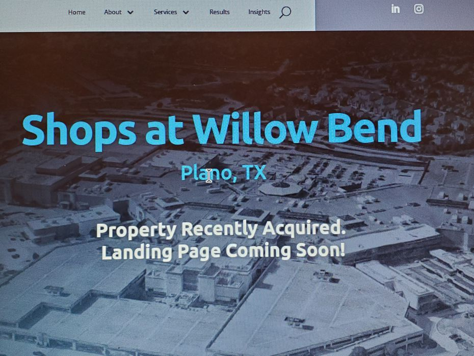 Screen shot about Plano's Shops at Willow Bend from Spinoso Real Estate Group's website.